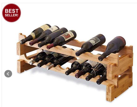 La Cache Wine Credenza : Scallop rack bamboo 18 bottle the wine kit